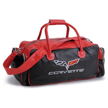 """Red and Black 24"""" C6 Leather Duffel"""