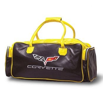 """Yellow and Black 24"""" C6 Leather Duffel"""
